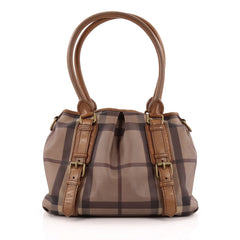 Burberry Northfield Convertible Tote Smoked Check Coated Canvas Small