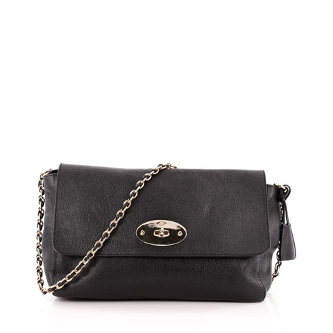 003b5d0561 Buy Mulberry Lily Chain Flap Bag Leather Large Black 1316202 – Rebag