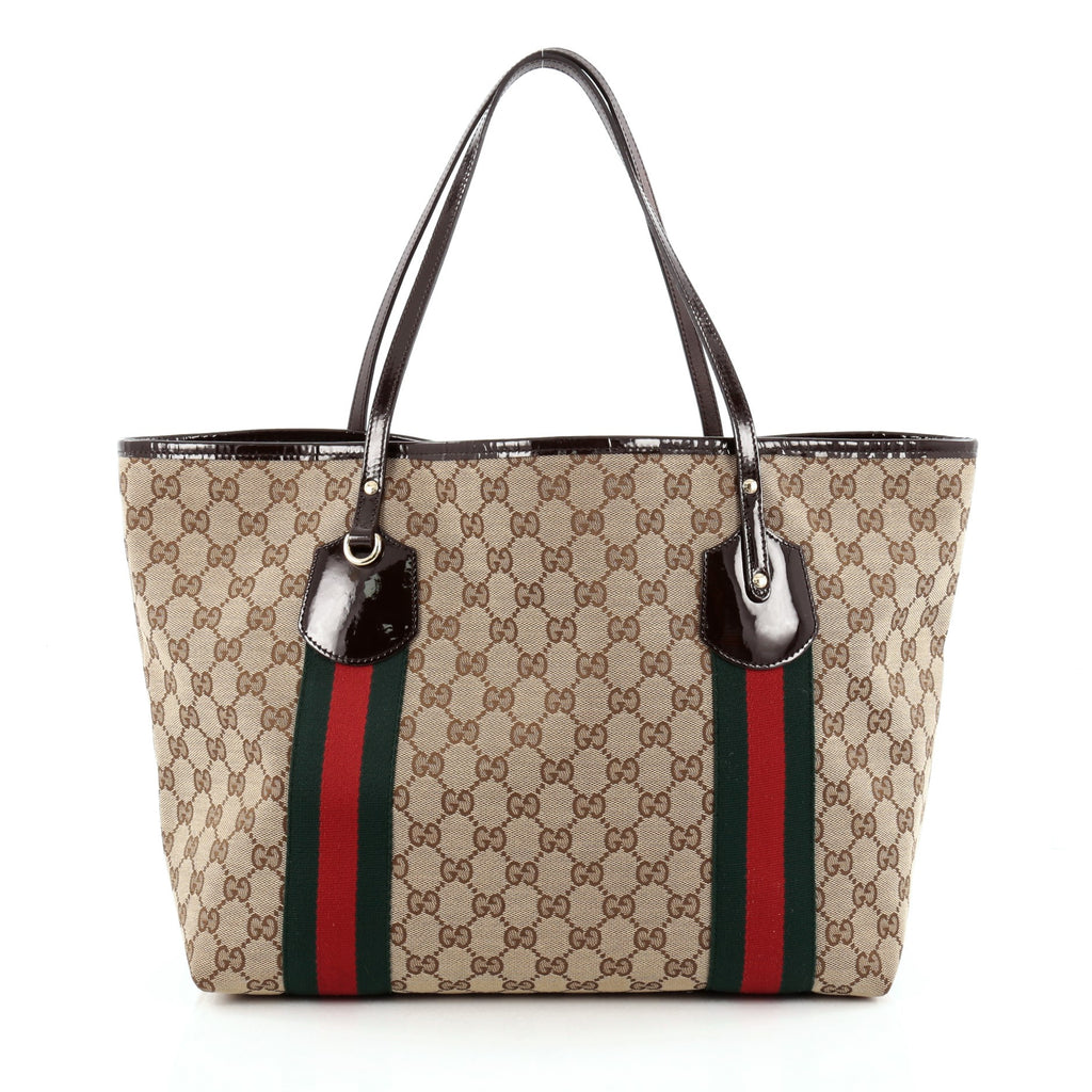 518a5d20ebf7 Buy Gucci Jolie Web Tote GG Canvas Large Brown 1319901 – Rebag