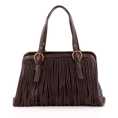 Bottega Veneta Belted Frame Satchel Pleated Intrecciato Nappa Large