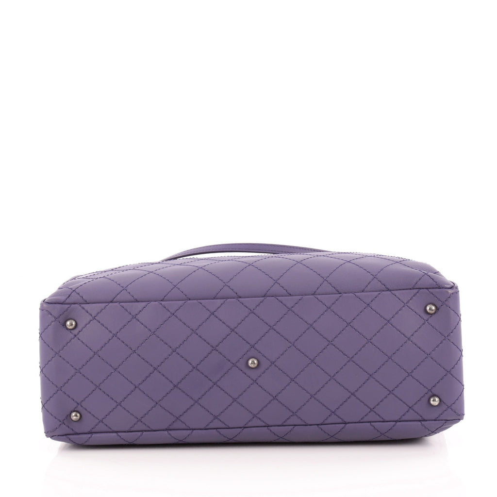 1feae7e84205 Buy Chanel CC Pocket Tote Quilted Calfskin Large Purple 1322902 – Rebag