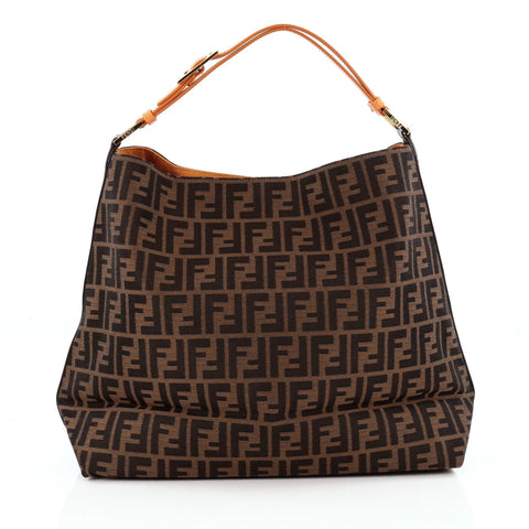 a6a152177db9 Buy Fendi Buckle Strap Hobo Zucca Canvas Large Brown 1325201 – Rebag
