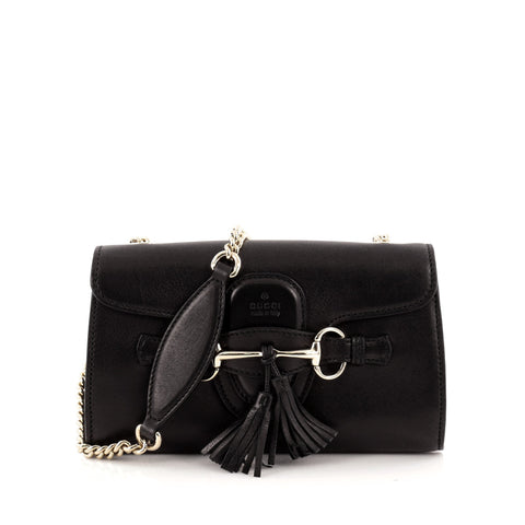 d88301a7fa40 Buy Gucci Emily Chain Strap Flap Bag Leather Small Black 1333701 – Rebag