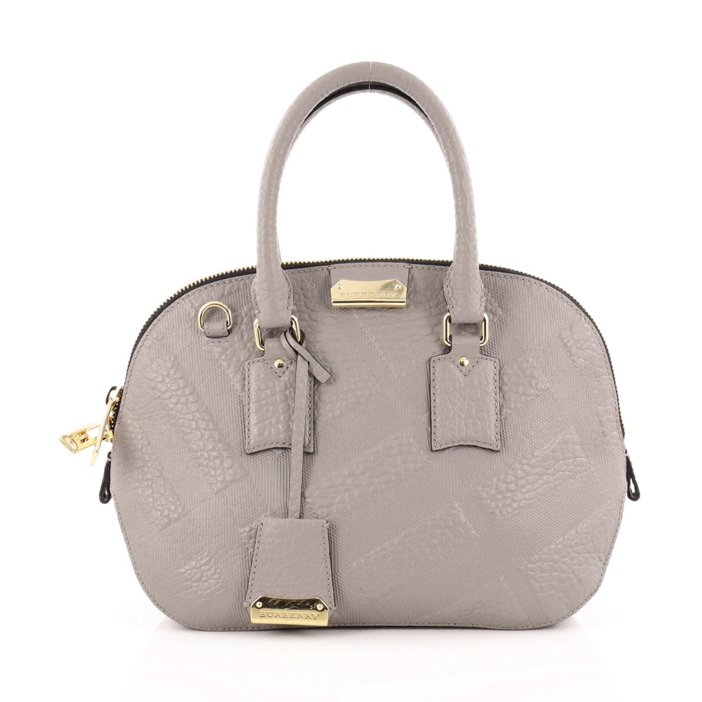 6033e1c88e8 Buy Burberry Orchard Bag Embossed Check Leather Small Gray 1334901 ...