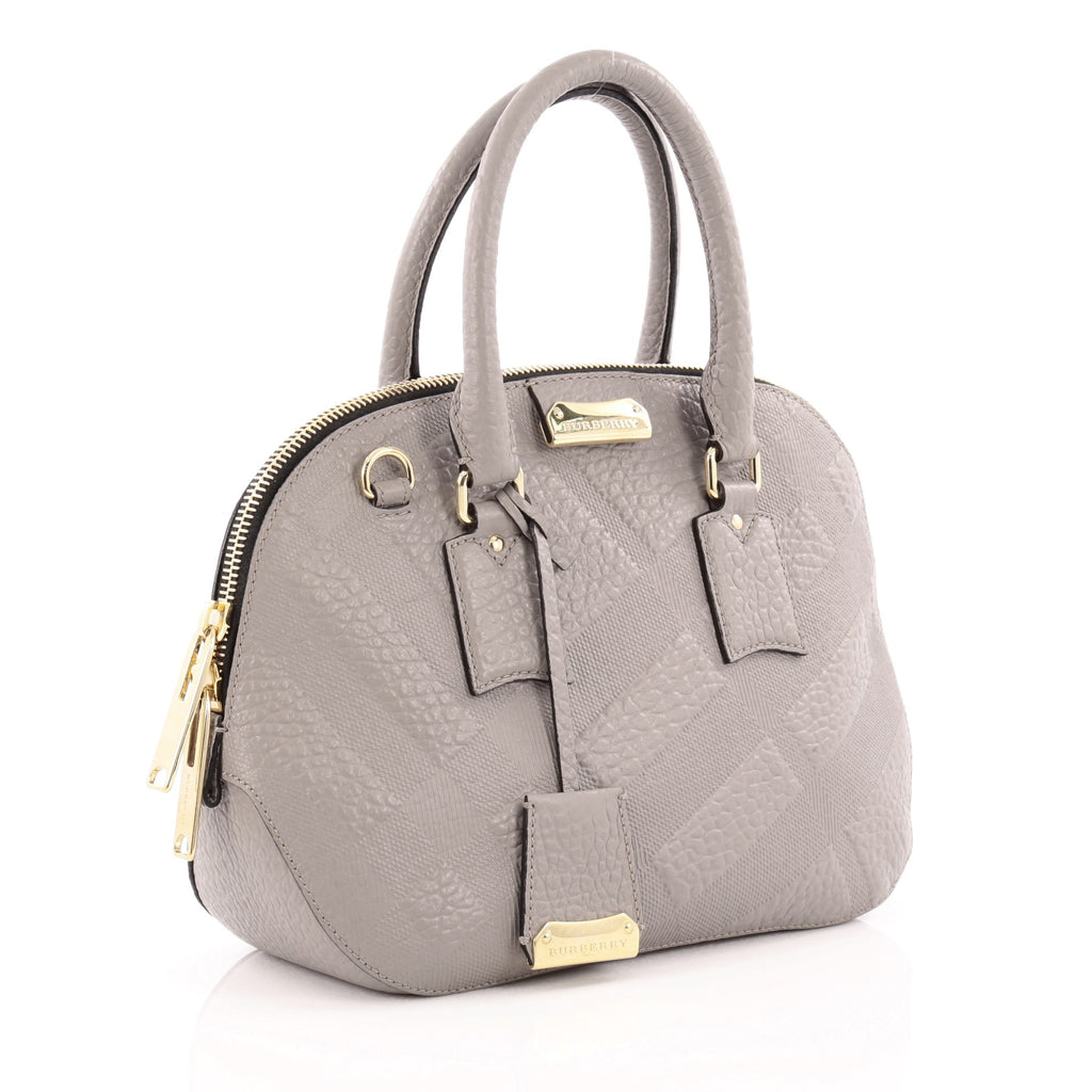 54c7875b721 Buy Burberry Orchard Bag Embossed Check Leather Small Gray 1334901 ...