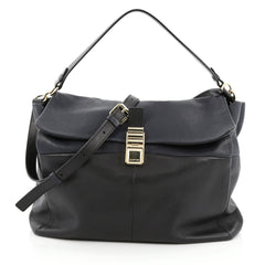 Lanvin For Me Double Carry Handbag Leather Large Black