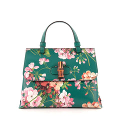 Gucci Bamboo Daily Top Handle Bag Blooms Print Leather Medium