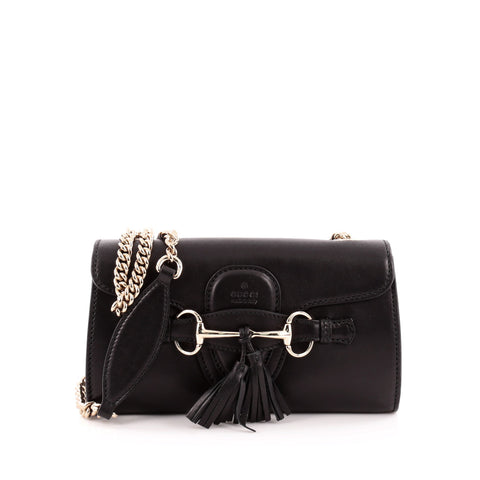 0abcfc1ee57b Buy Gucci Emily Chain Strap Flap Bag Leather Small Black 1344107 – Rebag