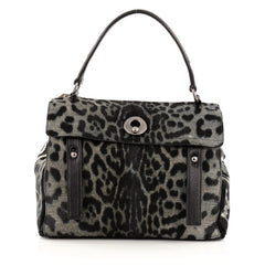 Saint Laurent Muse Two Handbag Leopard Print Pony Hair Medium