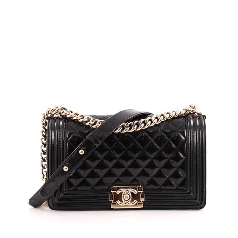 d624f6c036ec Buy Chanel Boy Flap Bag Quilted Patent Old Medium Black 1345509 – Rebag