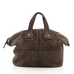 Givenchy Nightingale Satchel Crocodile Embossed Nubuck Medium