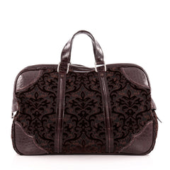 Gucci Helmut Carry On Duffle Bag Velvet Jacquard with Crocodile Medium