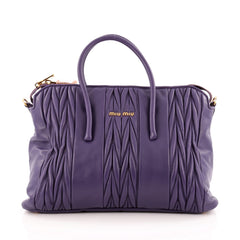 Miu Miu Miu Miu Convertible Paneled Zip Tote Matelasse Leather Large