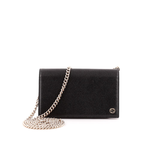 d896c3fdc227 Buy Gucci Betty Chain Wallet Leather Black 1349601 – Rebag