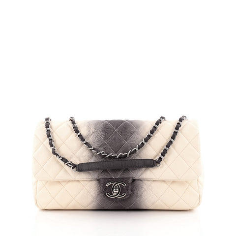 8fee2a3ac9b73f Buy Chanel CC Chain Flap Ombre Quilted Caviar Large White 1351001 – Rebag