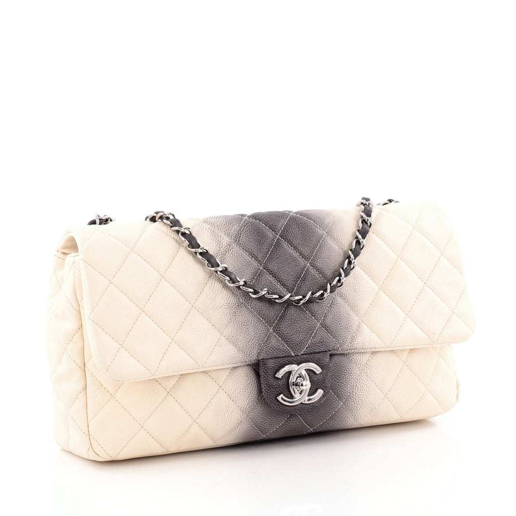 5aab17e17f2d76 Buy Chanel CC Chain Flap Ombre Quilted Caviar Large White 1351001 ...
