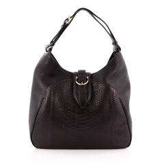 Salvatore Ferragamo Buckle Hobo Leather and Python Large