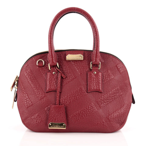 79a3d1a89c13 Buy Burberry Orchard Bag Embossed Check Leather Small Red 1352901 – Rebag