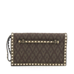 Valentino Rockstud Flap Clutch Studded Monogram Canvas