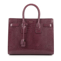Saint Laurent Sac de Jour NM Crocodile Embossed Leather Small Purple
