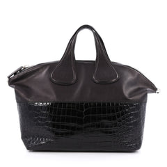 Givenchy Nightingale Satchel Leather and Crocodile Embossed Medium Black
