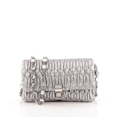 Miu Miu Crystal 2way Pouch Matelasse Leather Small