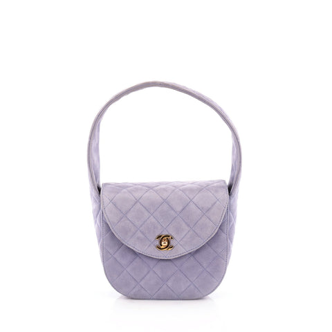 d7122a9c549279 Buy Chanel Vintage Round Top Handle Bag Quilted Suede Small 1370206 – Rebag