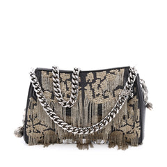 Alexander McQueen Heraldic Shoulder Bag Leather with Chain and Sequin Embroidery Medium Black