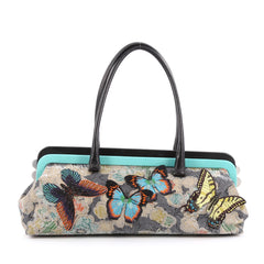 Bottega Veneta Frame Shoulder Bag Jacquard with Butterfly Applique Large Multicolor