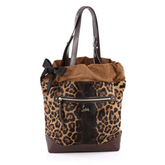 Christian Louboutin Pola Tote Printed Pony Hair with Suede Brown
