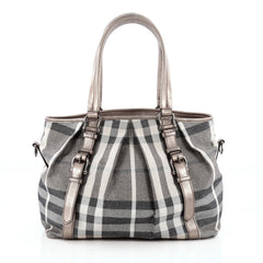 Burberry Northfield Convertible Tote Shimmer House Check Canvas Large