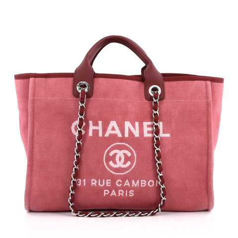 b92ffc3ae26e Buy Chanel Deauville Chain Tote Canvas Large Pink 1383901 – Rebag