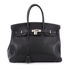 Hermes Birkin Handbag Black Togo with Palladium Hardware 35 Black