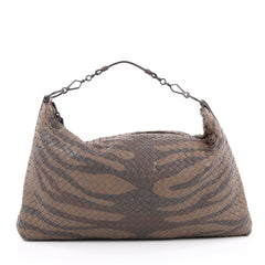 Bottega Veneta Limited Edition Messenger Printed Intrecciato Nappa with Crocodile Large Brown