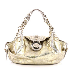 Versace Chain Medusa Shoulder Bag Crinkled Metallic Leather Medium Gold