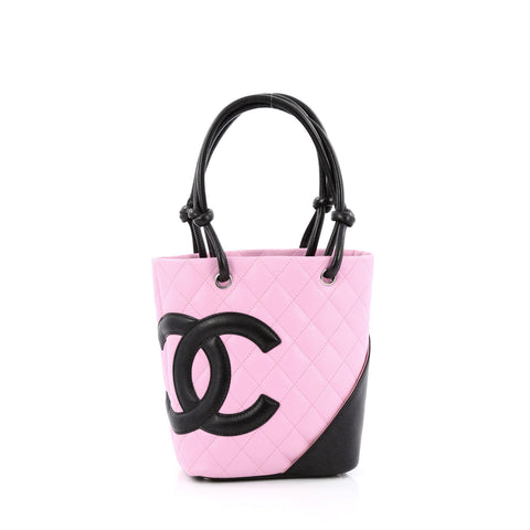 14c76df09b33 Buy Chanel Cambon Tote Quilted Leather Petite Pink 1388201 – Rebag