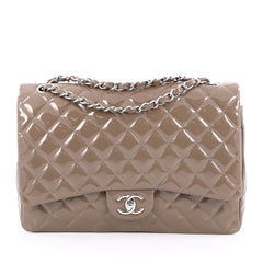 Chanel Classic Double Flap Bag Quilted Patent Maxi Gray