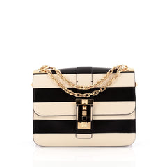 Valentino B-Rockstud Shoulder Bag Striped Leather Medium
