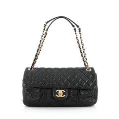 Chanel Chic Quilt Flap Bag Quilted Iridescent Calfskin Large Black