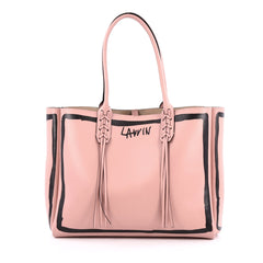 Lanvin Nela Shopper Tote Printed Leather Small Pink