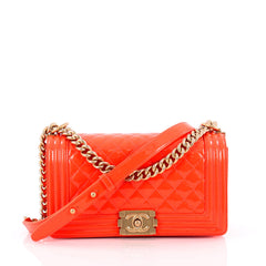Chanel Boy Flap Bag Quilted Patent Old Medium Orange