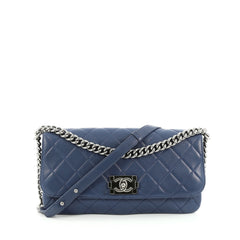 Chanel Boy Messenger Bag Quilted Calfskin Large Blue