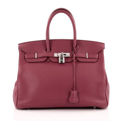 Hermes Birkin Handbag Red Togo with Palldium Hardware 35