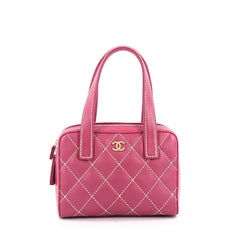 Chanel Surpique Zip Around Satchel Quilted Leather Small Pink