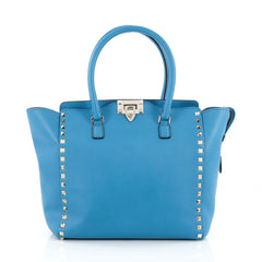 Valentino Rockstud Tote Rigid Leather Medium Blue