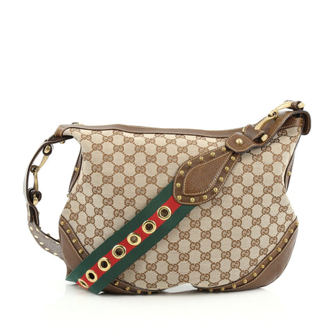 49100feabe86 Buy Gucci Pelham Web Hobo Studded GG Canvas Medium Brown 1410042 – Rebag