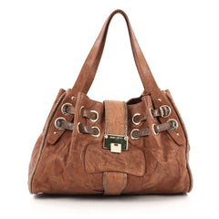 Jimmy Choo Ramona Hobo Leather and Snakeskin brown