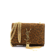 Saint Laurent Classic Monogram Tassel Crossbody Bag Printed Suede Small brown