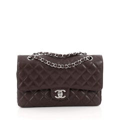 Chanel Classic Double Flap Bag Quilted Caviar Medium Brown