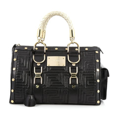 Versace Snap Out Of It Handbag Matelasse Leather Medium black